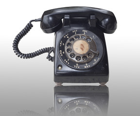 Old telephone with isolated background