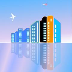 City town skycrapers