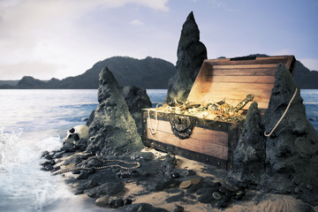 open treasure chest with bright gold
