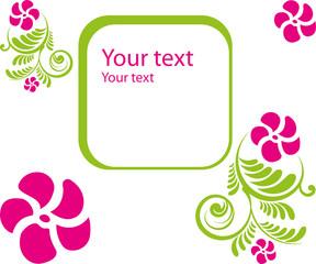 Grußkarte, Blumen, Blüten, Ranke, grün, pink