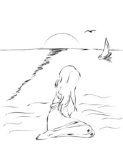 The sketch - the girl ashore on a sunset