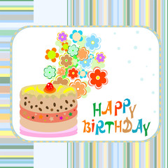 cake and flowers happy birthday greeting vector background