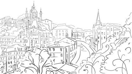 Poster Illustration Paris old town - illustration sketch