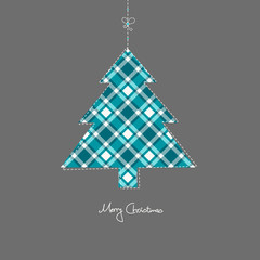 Hanging Xmas Tree Turquoise Checked Pattern Grey Background