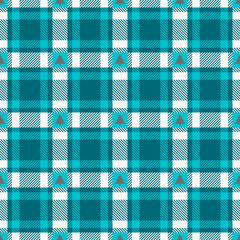 Seamless Pattern Turquoise Check Grey Xmas Trees