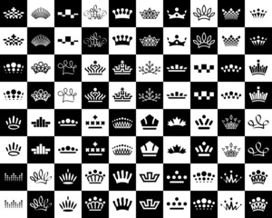 crown icons design set