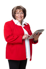 ältere Frau mit Tablet-Computer
