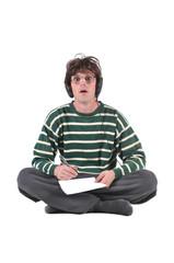 Dweeb man ready to write notes
