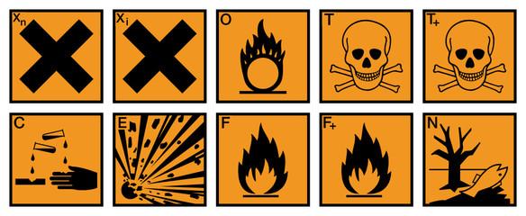 Gefahrstoffzeichen Set Etiketten Gefahrgut Schilder Symbole