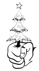 Hand holding a Christmas fur-tree. An illustration to Christmas