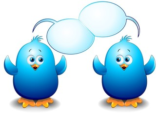 Pulcini Uccelli Blu Cartoon-Blue Birds Chicks Talking-2-Vector