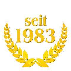 seit 1983  jubiläum lorbeerkranz lorbeer gold