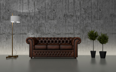 Modern Interior With Chester Sofa 3d Wall mural