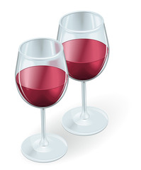 Two wine glasses illustration