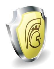 Spartan helmet shield security concept