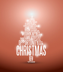 Vector Abstract christmas card with season words