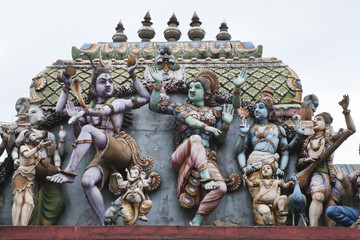 gods and goddesses on the roof of hindu temple, sri lanka