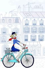 Poster Illustration Paris woman in paris