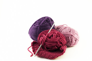 Balls of yarn on an isolated background