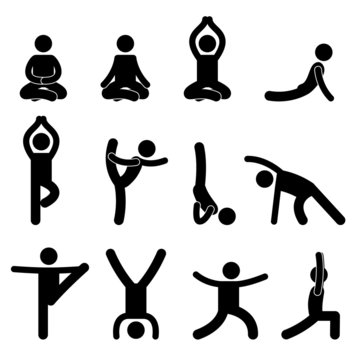 Yoga Meditation Exercise Stretching People Pictogram