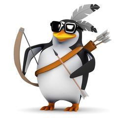 3d Penguin Indian Brave