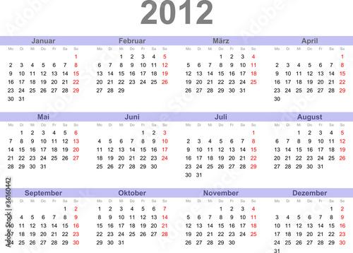 2012 kalender
