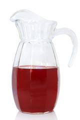 Glass jug of fruit drink
