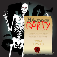 Halloween skeleton scary party invitation