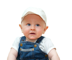 bright portrait of adorable baby isolated on white