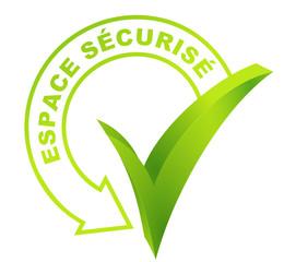 espace sécurisé sur symbole validé vert