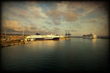 Navi, porto, mare, texture retro