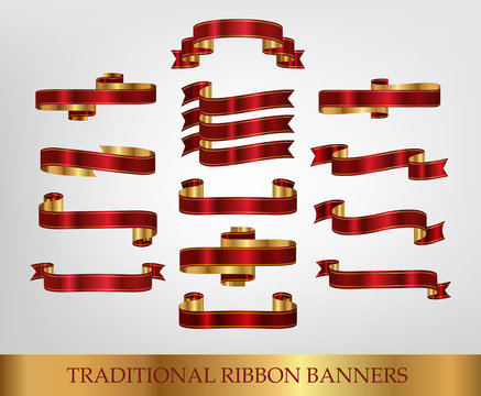 Collection of Red Ribbons and banners