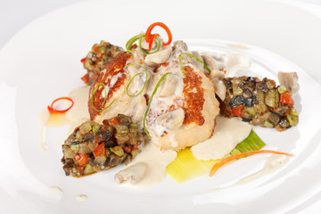 Fish cutlet with vegetables