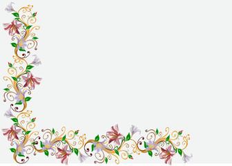 light lily flowers corner illustration