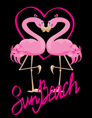 couple of pink flamingos and heart (I love Sun Beach)