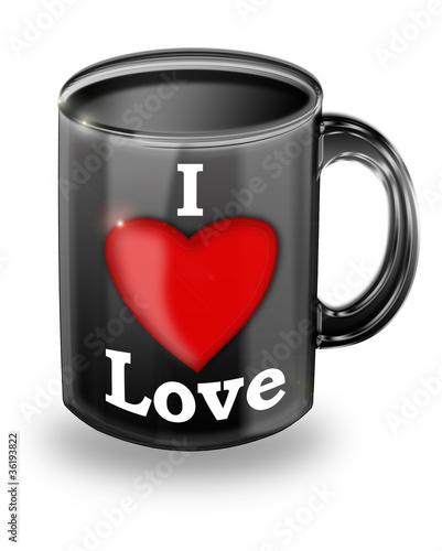 tasse mit i love logo stockfotos und lizenzfreie. Black Bedroom Furniture Sets. Home Design Ideas