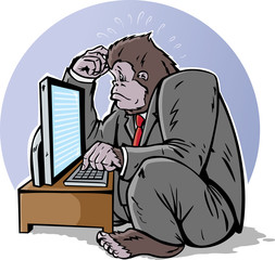 Confused business gorilla on computer