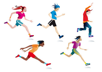 Boys and girls running (white background)