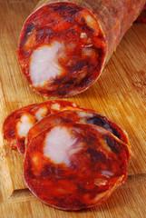 Close up of a spanish sliced chorizo salami