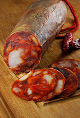 Spanish chorizo sausage with slices