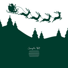 Christmas Sleigh Flying Green Background