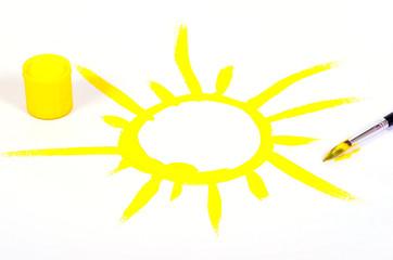 gelbe Sonne gemalt Pinsel