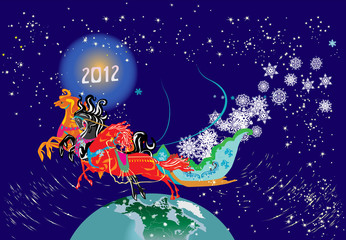 horses in stars new year illustration