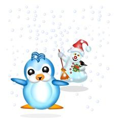 pinguino con pupazzo di neve