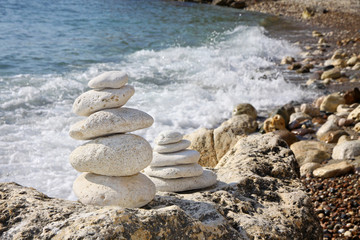 Stacks of stones on the beach