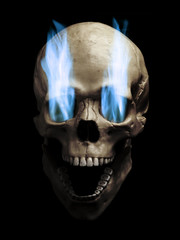 Skull with flaming eyes