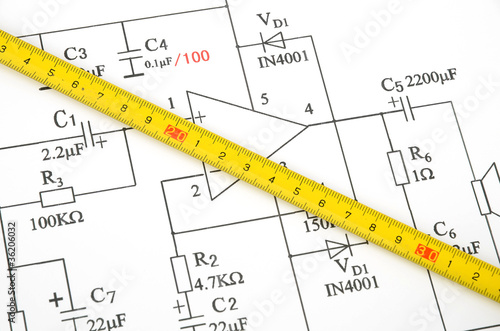 Outstanding Circuit Diagram And Tape Measure Stock Photo And Royalty Free Wiring Digital Resources Remcakbiperorg