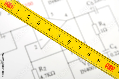 Circuit Diagram And Tape Measure Stock Photo And Royalty Free
