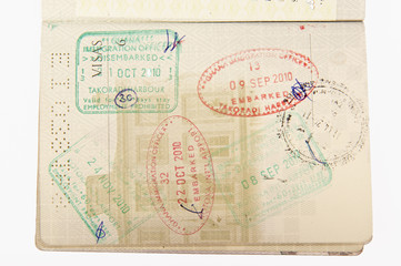 Immigration stamps passport