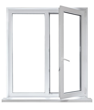 White plastic double door window isolated on white background